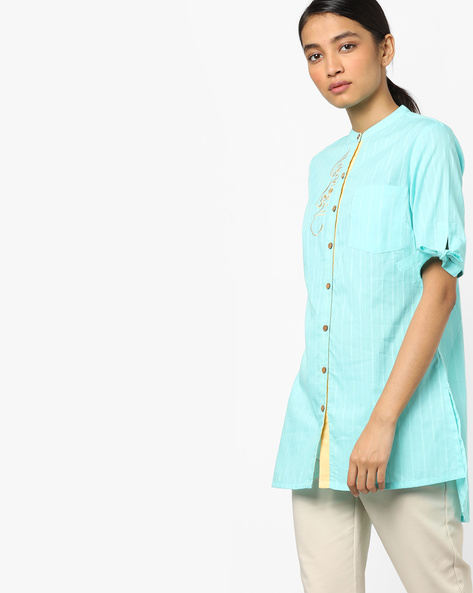 Tunic With Patch Pocket By AJIO ( Aqua )