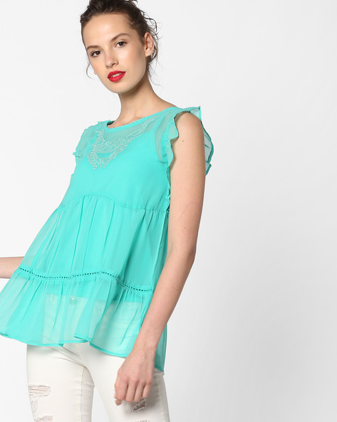 Tiered Top With Flutter Sleeves By AJIO ( Teal )