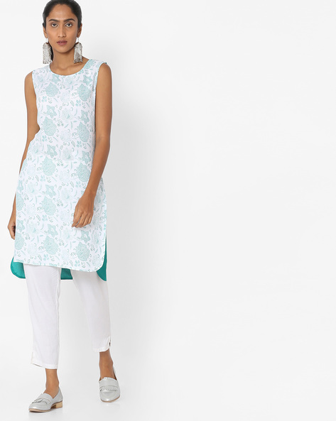 Printed High-Low Straight Kurta By Aaboli ( Green )