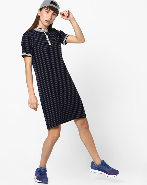 Striped Shift Dress With Zip Placket By Teamspirit ( Navy )