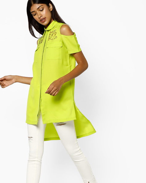 Cold-Shoulder Shirt With Cut-Outs By AJIO ( Green )