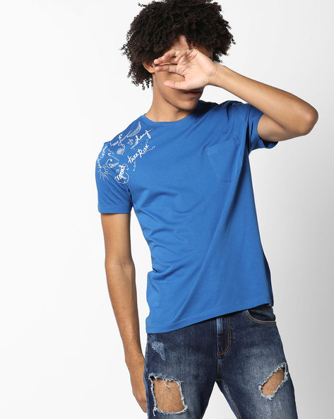 Crew-Neck T-shirt With Patch Pocket By Lee ( Blue )