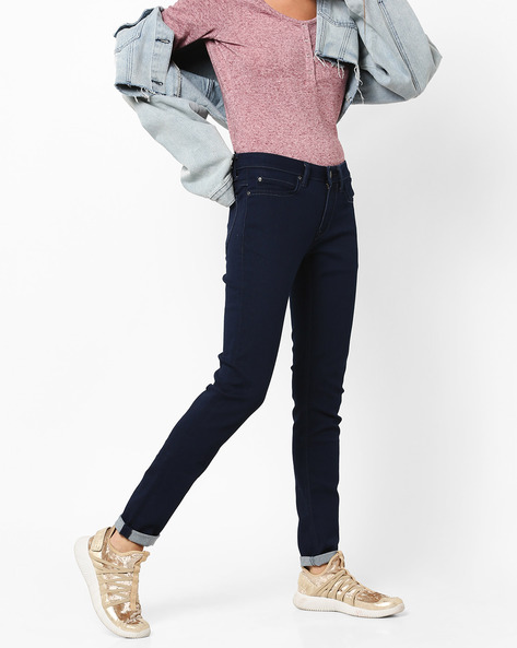Slim Fit Mid-Rise Jeans With 5-Pocket Styling By Lee ( Blue )