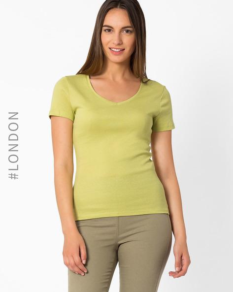 V-neck Cotton T-shirt By Marks & Spencer ( Olive )