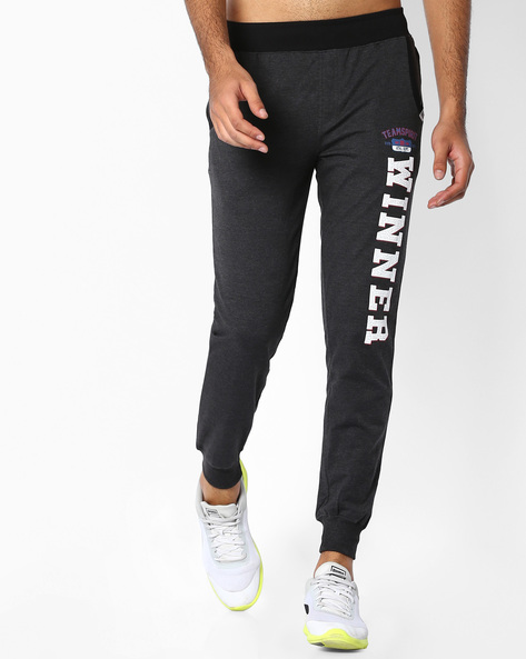 Jogger Fit Track Pants With Graphic Print By TEAM SPIRIT ( Charcoal )