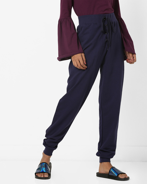 Looper Knit High-Rise Track Pants With Front Tie-Up By AJIO ( Navy )