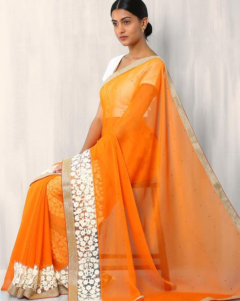 Embroidered Chiffon Saree By Viva N Diva ( Orange )