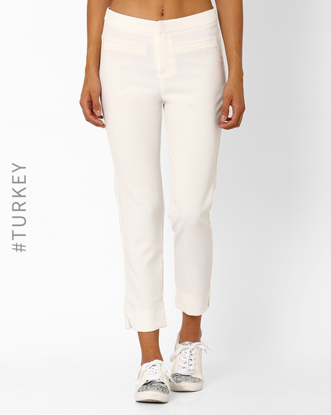 Slim Fit Ankle-Length Trousers By TIFFANY & TOMATO ( Ecru )