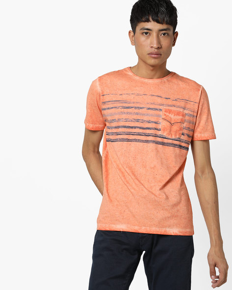 Speckle Print Crew-Neck T-shirt With Washed Effect By Killer ( Orange )