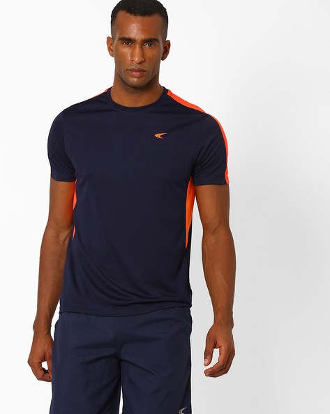 Cut-&-Sew Crew-Neck T-shirt With QuickDry By PERFORMAX ( Navy )