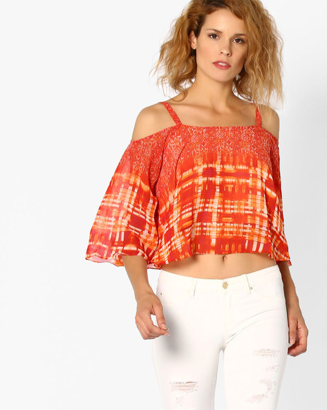 Printed Crop Top With Cold-Shoulder Sleeves By And ( Ltmulti )