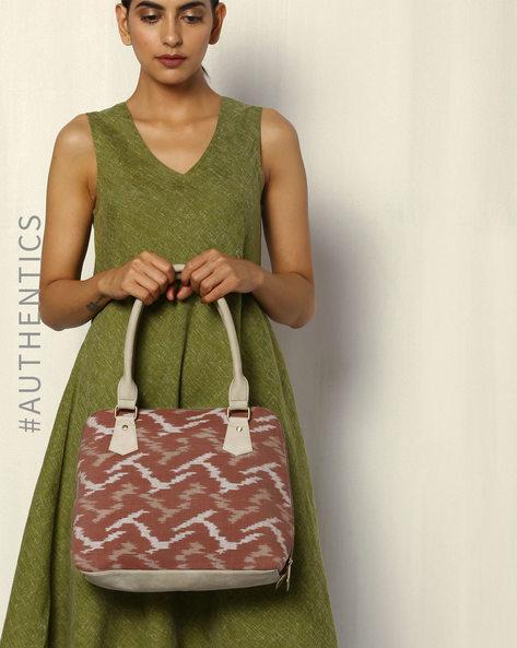 Handwoven Ikat Vegan Leather Shoulder Bag By A BIG INDIAN STORY ( Beige )