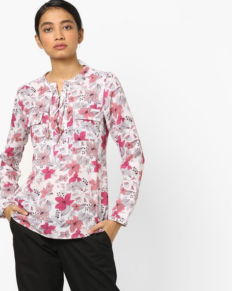 Floral Print Top With Tie-Up By AJIO ( White )