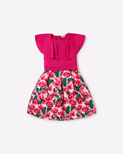 Floral Print Skirt With Top By Peppermint ( Pink )