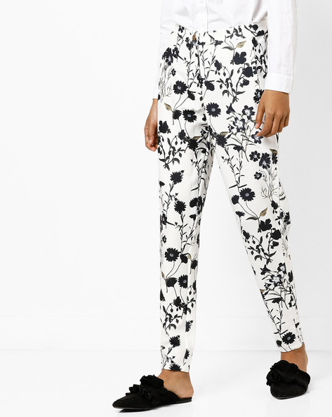 Printed Ankle-Length Trousers By AJIO ( White )
