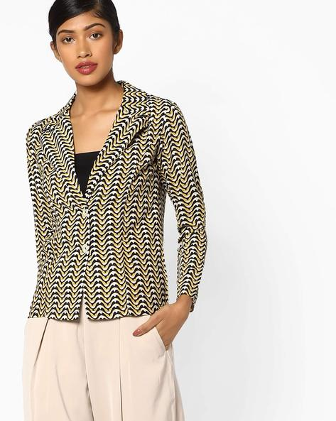 Printed Jacket With Notched Lapel By And ( Printed )