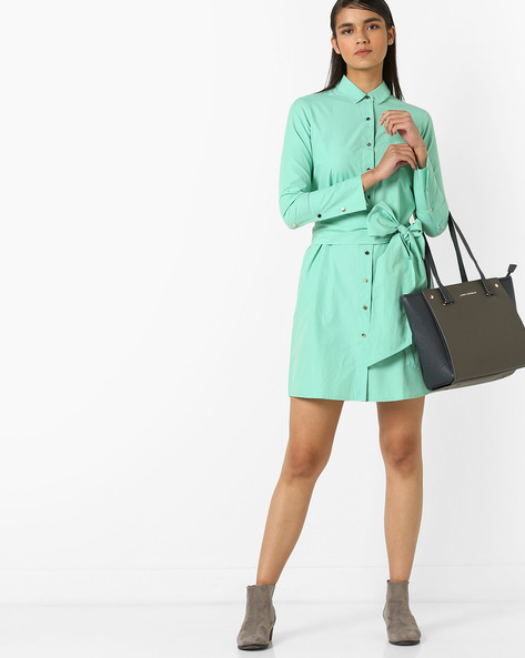 Shirt Dress With Waist Tie-Up By AJIO ( Green )