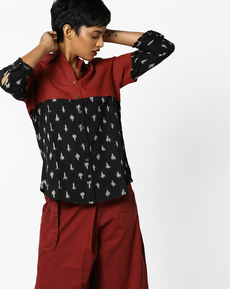 Layered Ikat Shirt Top With Button Placket By Project Eve IW Fusion ( Red )