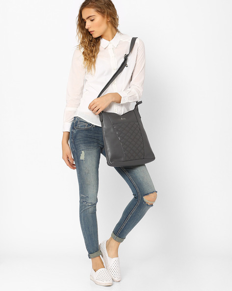 Sling Bag With Quilt-Stitched Panel By Lavie ( Grey )