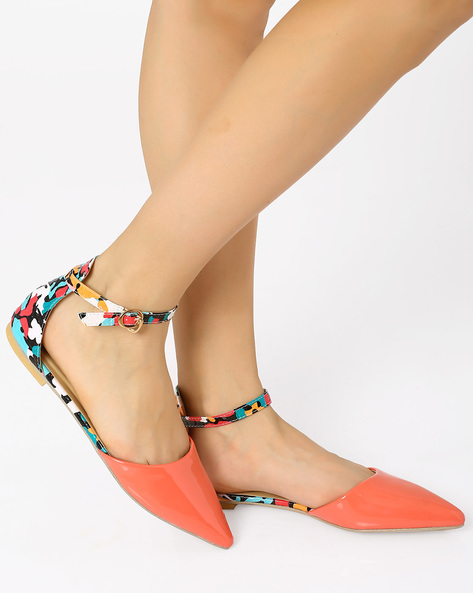 Pointy-Toe Flats With Ankle Strap By AJIO ( Pink )