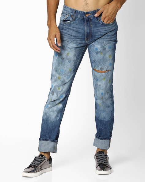 Mid-Rise Slim Tapered Jeans By AJIO ( Blue )