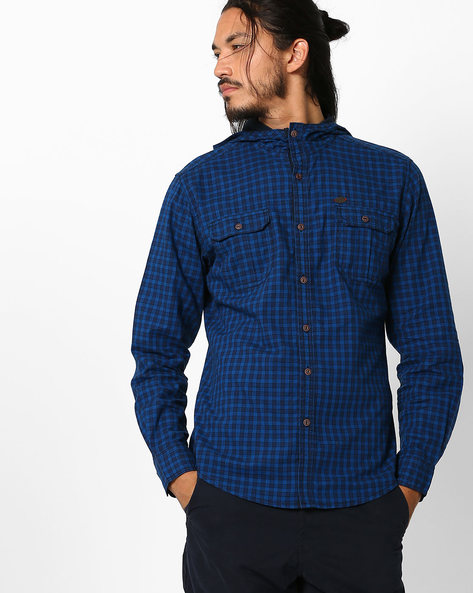 Checked Slim Shirt With Hood By DNM X ( Blue )