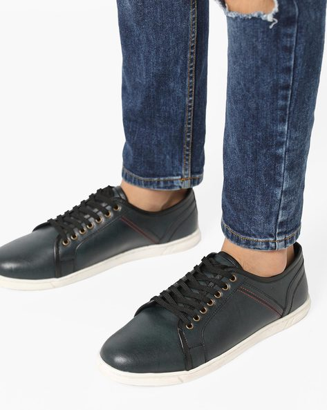 Panelled N9-Treated Lace-Up Sneakers By AJIO ( Navy ) - 460122686002