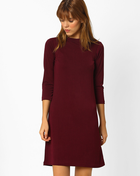A-line Dress With Cowl Back By And ( Burgundy )