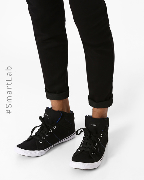 Canvas N9-Treated Mid-Top Trainers By AJIO ( Black )