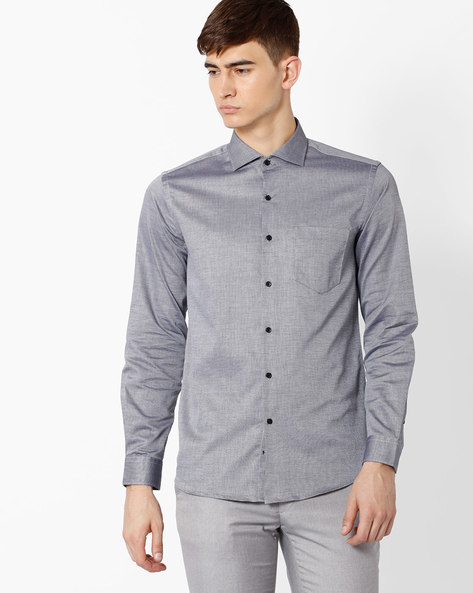 Slim Fit Cotton Shirt By Black Coffee ( Grey ) - 460036700001