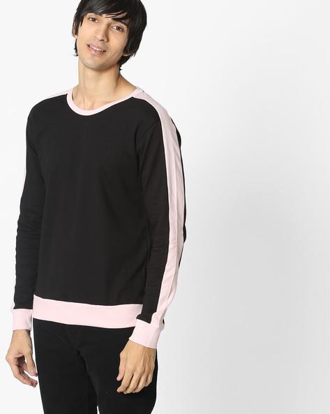 Colourblock Crew-Neck Sweatshirt By DEEZENO ( Black ) - 460133998001