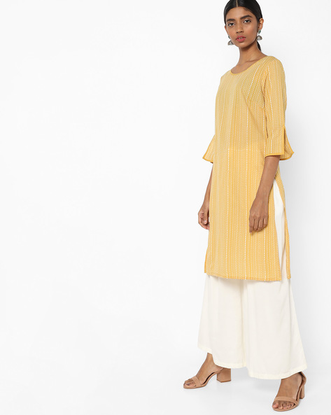 Printed Tunic With Slit Sleeve Hems By AJIO ( Mustard )