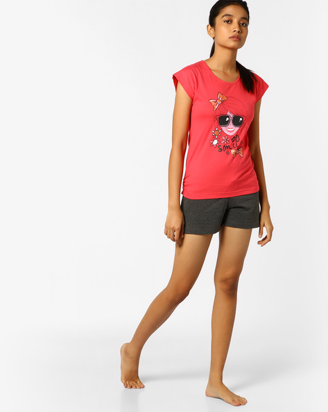 Lounge T-shirt And Shorts Set By Slumber Jill ( Pink )