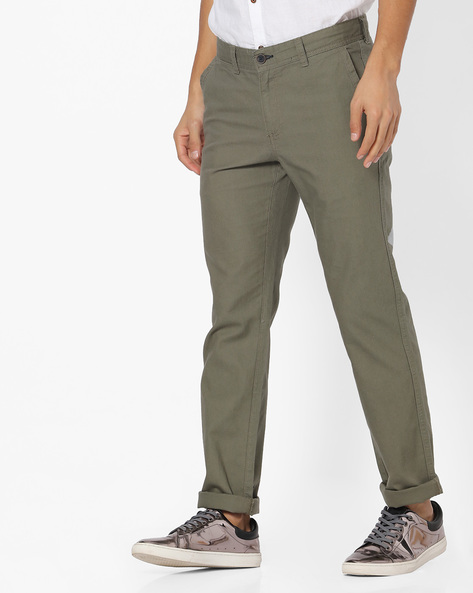 Flat-Front Chinos By NETPLAY ( Olive )