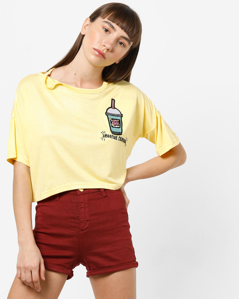 Crop T-shirt With Drop Shoulders By AJIO ( Yellow )