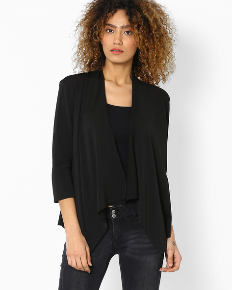 Waterfall Shrug With Lace Panel By RIO ( Black )
