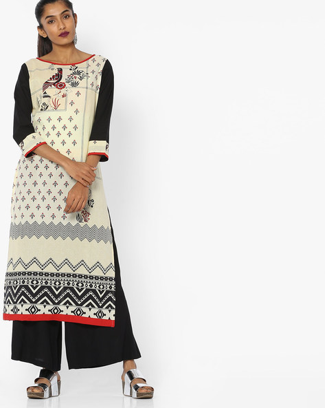 Printed Straight Kurta By Indian Ink ( Ivory )