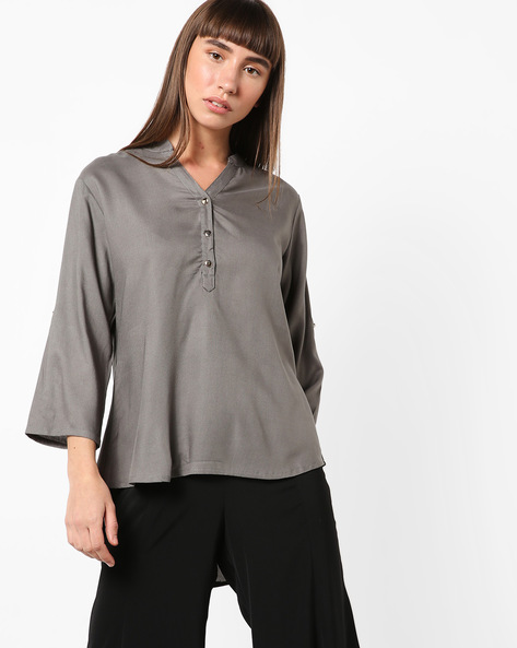 High-Low Kurta With Notched Neckline By ETHNIC CURRY ( Grey )