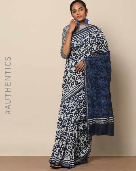 Handblock Indigo Print Chanderi Saree With Zari By Indie Picks ( Indigo ) - 460146831001