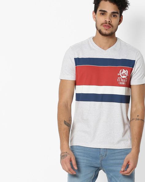 Colourblock Crew-Neck T-shirt By US POLO ( Ecru )