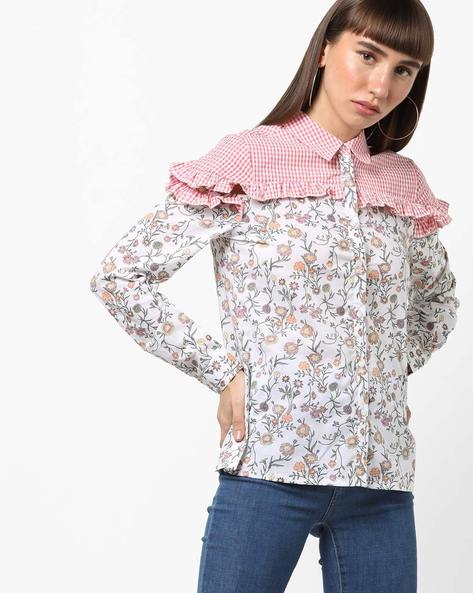 Floral Print Shirt With Checked Yoke By AJIO ( Offwhite )