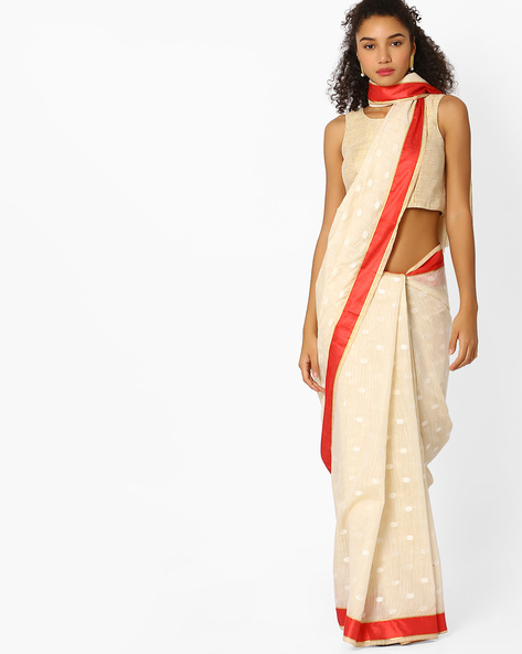 Banarasi Silk Saree With Contrast Border By Viva N Diva ( Beige )