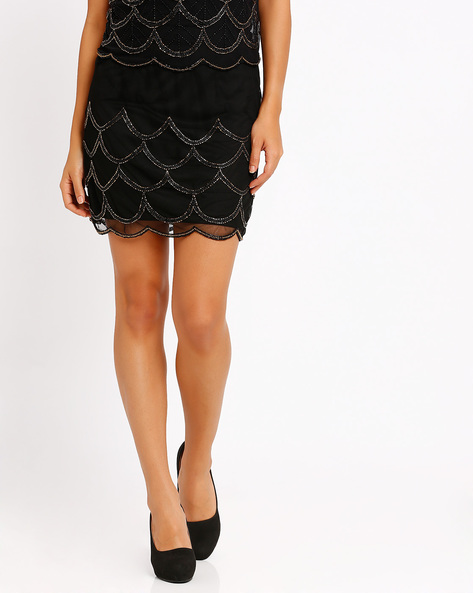 Embellished Mini Skirt By The Vanca ( Black )