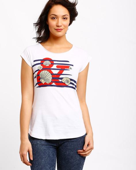 Graphic Print T-shirt By AJIO ( White ) - 460002355003