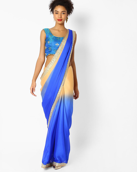Colourblock Saree With Embroidered Border By Majestic Silk ( Blue )