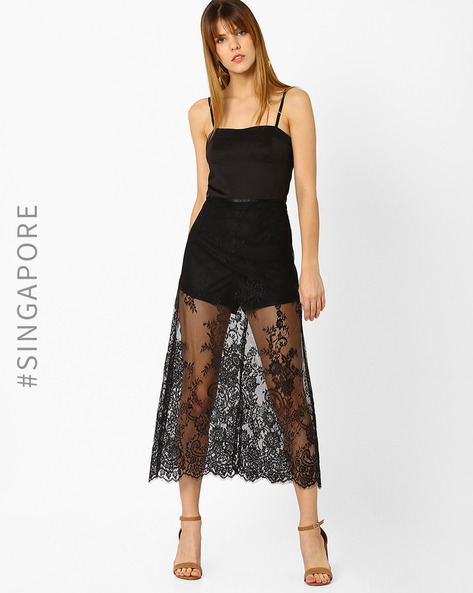 Strappy Midi Dress With Lace Overlay By MDS ( Black )