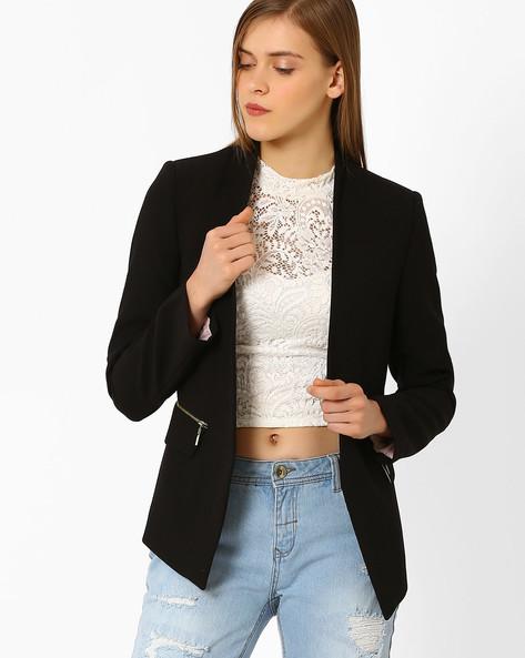 Slim Fit Crepe Jacket By AJIO ( Black )