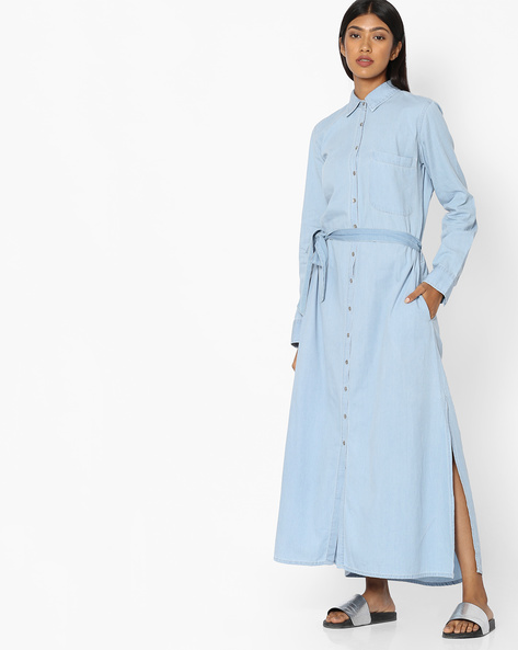 Maxi Shirt Dress With Waist Tie-Up By Tokyo Talkies ( Blue )