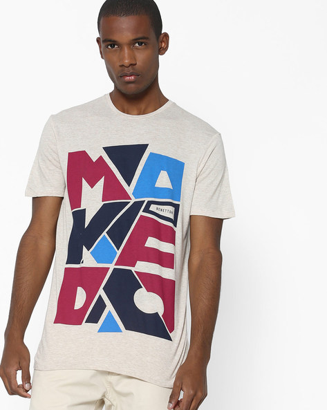 Typographic Print Crew-Neck T-shirt By UNITED COLORS OF BENETTON ( Assorted )