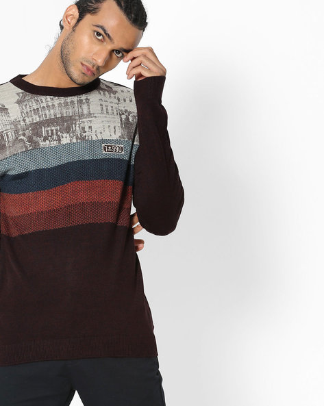 Printed Crew-Neck Pullover By DUKE ( Dkpurple )